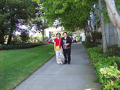 Liu and friend at Sofitel hotel near San Francisco